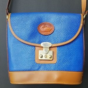 Blue and tan purse crossbody. Size medium